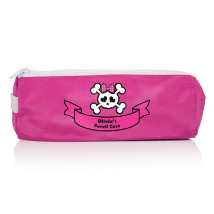 Personalised Pink Girls Skull & Cross Bone Pencil Case